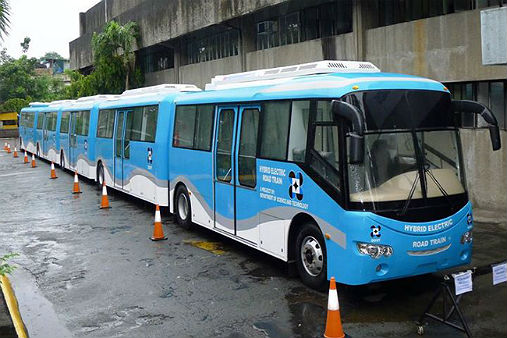 The Department of Science and Technology (DOST) rolls out its Hybrid Electric Road Train at the Clark Freeport Parade Ground in Pampanga   Photo by: Abs-cbnnews.com