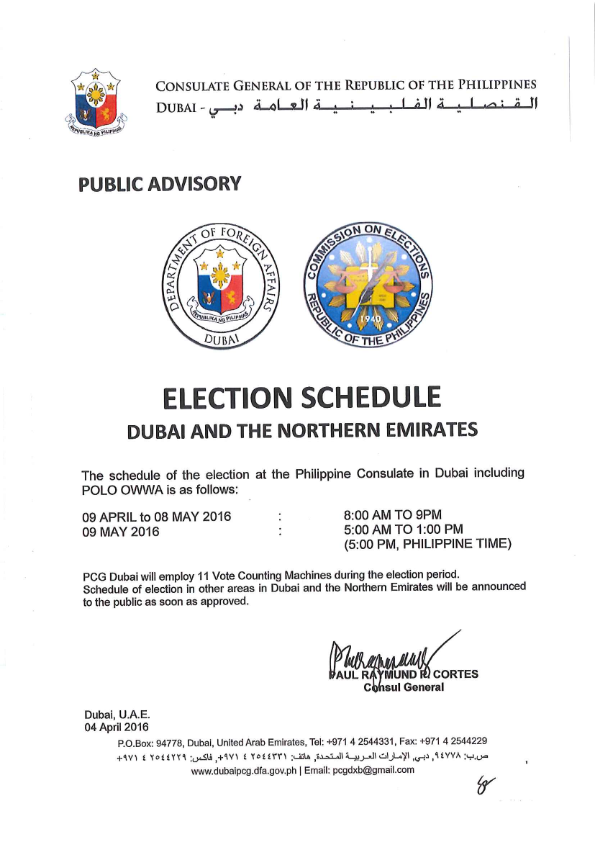Election Schedule in UAE - Dubai Consulate image credit